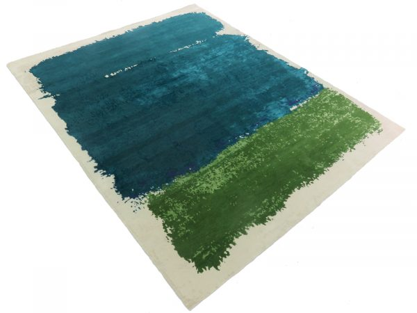 green and teal colour block rug
