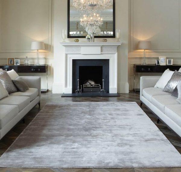 plain grey silk rug in living room